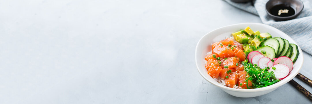 Fresh hawaiian salmon poke bowl for healthy lunch