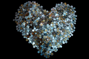 Thai Baht lots coin Arranged in heart shape on with black background texture, Investment and saving concept, Money stack for business planning investment, A lot of money.