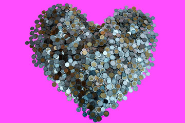 Thai Baht lots coin Arranged in heart shape on with pink background texture, Investment and saving concept, Money stack for business planning investment, A lot of money.