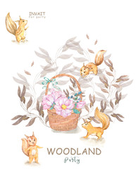 Set cute watercolor bohemian baby squirrel animal and wooden basket poster for nursary, alphabet woodland isolated forest decoration illustration. Baby shower animals invitation.