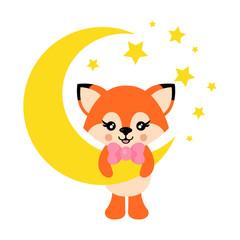 cartoon cute fox with tie on the moon