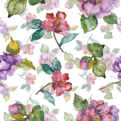 Red purple camelia floral botanical flower. Watercolor illustration set. Seamless background pattern.