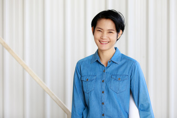 Portrait of female engineer with self-confidense and friendly manner.