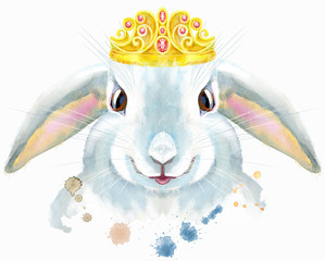 Watercolor illustration of a white rabbit with golden crown