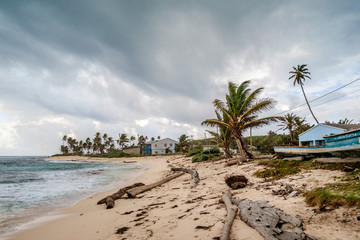 Caribbean beach in a windy and cloudy day. San Andrés, Colombia.