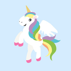 Cute unicorn with wings and colorful hair