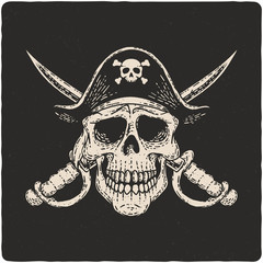 Hand drawn illustration of pirate skull. Isolated on dark background.