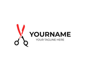 Barbershop logo design. Barber blade and scissors vector design. Hairdressing salon logotype