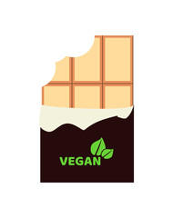 Vector flat illustration of bitten vegan white chocolate bar isolated on a white background. Vegan logo on a chocolate wrapper.
