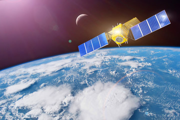 Space satellite in orbit around the Earth. Elements of this image furnished by NASA