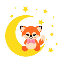 cartoon cute fox with tie sits on the moon