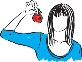 pretty lady with an apple vector illustration