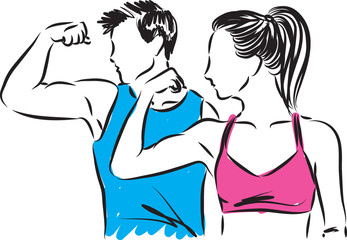 man and woman fitness showing muscles vector illustration