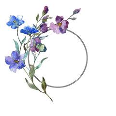 Blue purple flax floral botanical flower. Watercolor background illustration set. Frame border ornament square.