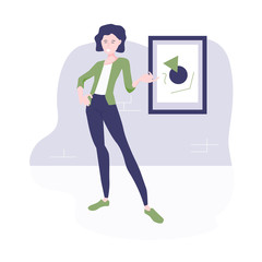 Stylish modern vector illustration. Girl guide in the museum stands at the picture and tells a story.