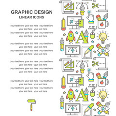 Vector graphic design pattern with linear icons. Line style designer background with place for text.  Graphic design education and learning.