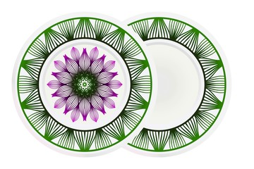 Decorative plate with mandala ornament in ethnic style. Fashion background with ornate dish. Vector illustration
