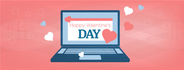Vector illustration Laptop with Happy Valentine's Day Card on the coral background, cover of the site