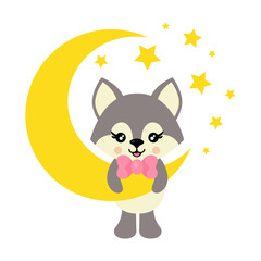 cartoon cute wolf with tie on the moon