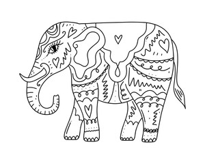 Hand drawn boho tribal style elephant. Coloring book page element, pattern, ornament. Vector illustration.