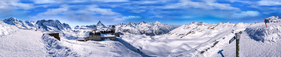 Panorama view of Matterhorn and Pennine Alps Massive from Gorner