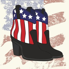pair of fashion cowboy leather boots for women with a picture of the U.S. flag.