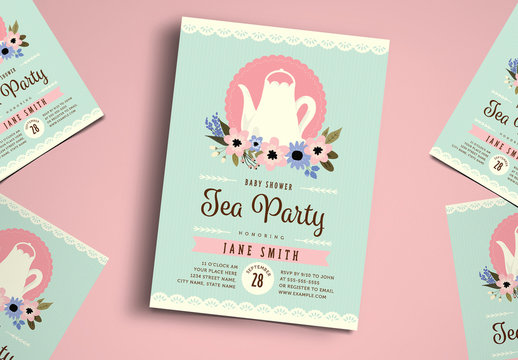 Floral Baby Shower Tea Party Invitation