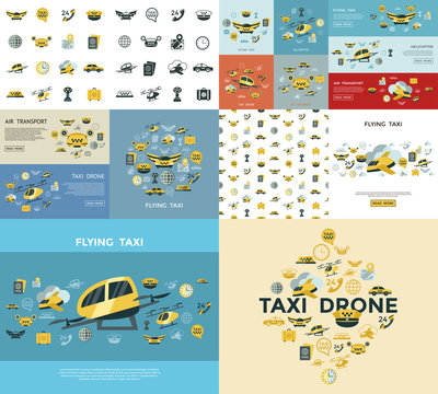 Digital vector flying taxi drone icon set
