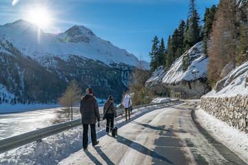 Frozen lake Martel in South Tyrol