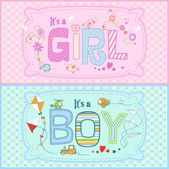 Baby shower - two cute cards for boy and girl with seamless texture with dots in the background