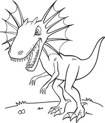 Foto op Plexiglas Cartoon draw Tough Dinosaur Vector Illustration Art