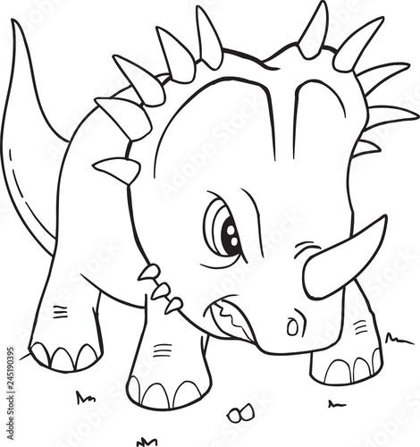 Styracosaurus Dinosaur Coloring Page Vector Illustration Art Stock