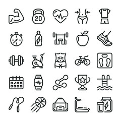 Fitness and sport icons set. Healthy lifestyle symbols. Line style