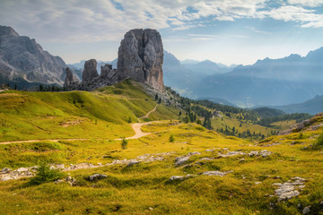 Morning panorama view of Cinque Torri mountain. Dramatic summer scene of Dolomiti Alps