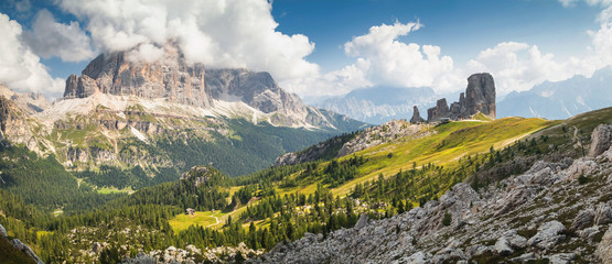 Summer panorama view of Cinque Torri mountain range. Splendid summer scene of Dolomiti Alps, Cortina d'Ampezzo, Province of Belluno, Italy, Europe.