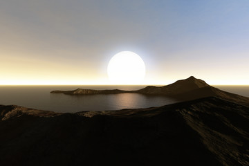 Sunset, a mediterranean landscape, reflection on dark waters and a white sun in the sky.