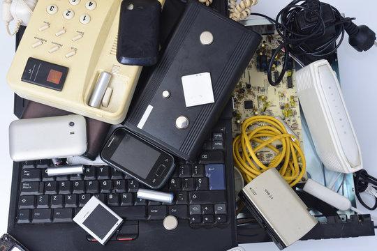 E-waste isolated on white