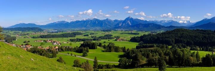 Panoramic view from the Schlossberg near Eisenberg, Hopfensee and Ammergau Alps with Sauling, Ostallgau, Allgau, Swabia, Bavaria, Germany, Europe