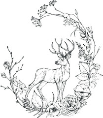 Vector Graphic floral illustration - black & white inked flowers wreath with deer / elk / reindeer for wedding stationary, greetings, wallpapers, fashion, logo, etc. Unique hand-drawn collection.