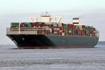 riesiges grünes Containerschiff