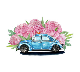 watercolor illustration with a retro car and flowers