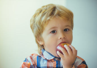 Cute toddler child eating red apple in hands on the day of valentine. Little blond boy with red delicious apple on white background. Child portrait with food.