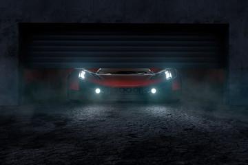 Sportwagen steht in einer Garage (3D Rendering)