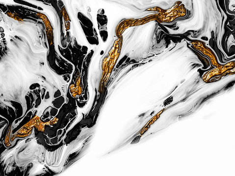 Creative abstract hand painted background, wallpaper, texture, close-up fragment of acrylic painting on canvas with brush strokes. Modern art. Black and white with gold background. Contemporary art.