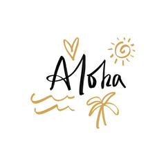 Aloha lettering text and vector symbols set.
