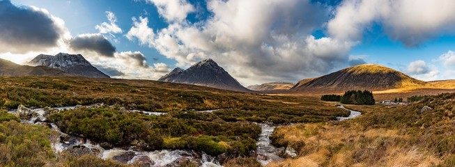 Scenic view of River Etive with Buachaille Etive Mor mountain in background