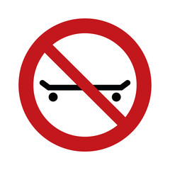 skateboarding forbidden sign - no skateboard prohibition sign   - vector   illustration -