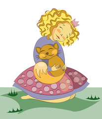 Little blonde girl hugging a kitten. Cartoon vector character