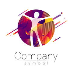 Modern head logo of Company Brand . Human in the circle . Fluid style. Logotype in vector. Design concept. Gradient liquid isolated on white background. Abstract geometric shapes. Red violet