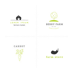 Farm logo templates set. Hand drawn vector objects.